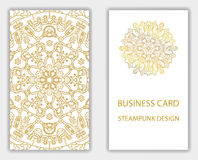 Business card with steampunk abstract design elements. Stock Photography