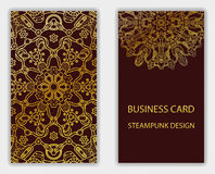 Business card with steampunk abstract design elements. Stock Image