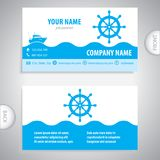 Business card - steering wheel rudder - ship steering Stock Photo