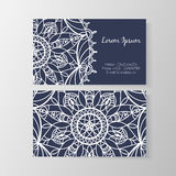 Business card with stylish modern floral pattern Royalty Free Stock Photos