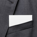 Business card in suit pocket Royalty Free Stock Photo