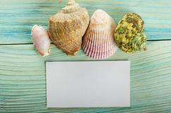 Business card, summer sea vacation mockup background. Notebook blank page with Travel items on blue green wooden table Stock Image