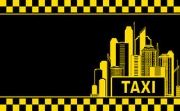 Business card with taxi and night city vector illustration