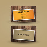 Business Card Template. Abstract Colorful Business Card Template Design, Back and Front Side with Hanging Picture Frames on a Wooden Surface Background Royalty Free Stock Images