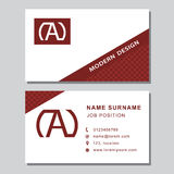 Business card template with abstract monogram design elements. Modern elegant emblem letter A. Creative modern graceful background Stock Photo