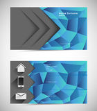 Business card template. Abstract mosaic business card template with icons Royalty Free Stock Photos