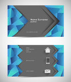 Business card template. Abstract mosaic business card template with icons Stock Photography