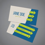 Business card template with arrow ribbons Royalty Free Stock Image