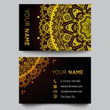 Business card template, black and golden beauty. Fashion pattern vector design editable. Vector illustration for modern design. Beautiful ornate pattern Royalty Free Stock Photo