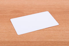 Business Card Template. Blank business card mock up on wood background royalty free stock image