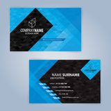 Business card template. Blue and Black royalty free illustration