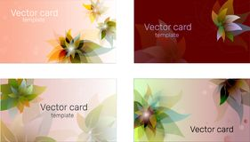 Business card template in blue shades with floral ornament. Text frame. Abstract geometric banner stock photography