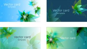 Business card template in blue shades with floral ornament. Text frame. Abstract geometric banner stock photo
