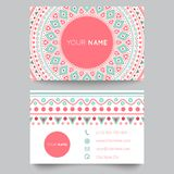 Business card template, blue, white and pink Stock Image