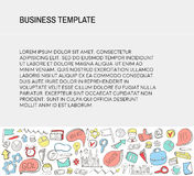 Business Card. Template with Business doodles Icons set. Sketch business icons. Stock Photo