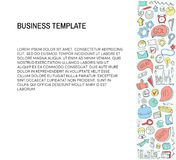 Business Card. Template with Business doodles Icons set. Sketch business icons. Stock Photos