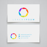 Business card template. Camera shutter conceptual Stock Images