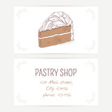 Business card template with chocolate cake Stock Images