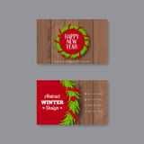 Business card template with Christmas wreath Stock Photography