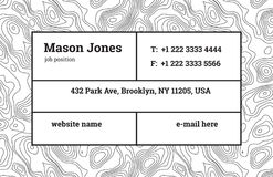 Business Card Template. Contour map. Bar fathion. Stock Photos