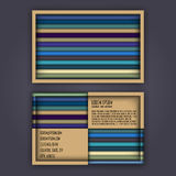 Business card template with 3D paper colorful lines. Background Stock Photo