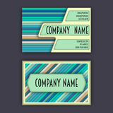 Business card template with 3D paper colorful lines Stock Photo