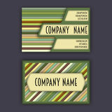 Business card template with 3D paper colorful lines Stock Photos