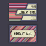 Business card template with 3D paper colorful lines Royalty Free Stock Images