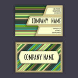 Business card template with 3D paper colorful lines Royalty Free Stock Photos