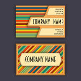 Business card template with 3D paper colorful lines Stock Photography