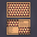 Business card template with 3D paper colorful triangle texture. Background Stock Image