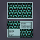 Business card template with 3D paper colorful triangle texture. Background Stock Images