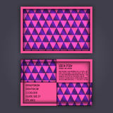 Business card template with 3D paper colorful triangle texture Royalty Free Stock Photos
