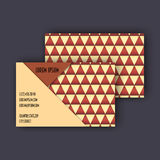 Business card template with 3D paper colorful triangle texture Stock Photos