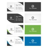 Business Card Template - Dark, white, green, blue. This is a collection of my designs that describes business cards. Can be used in marketing companies, nature Stock Photos