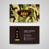 Business card Template design for army and soldier texture Royalty Free Stock Photography
