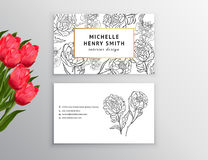 Business card template, design element. Can be used also for greeting cards, banners, invitations, posters. Decorative flowers,peo. Business card template Stock Photos