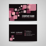 Business card Template design pink-black tone Stock Image
