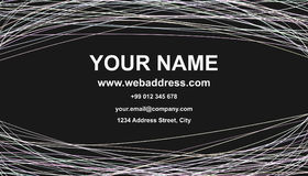 Business card template design - vector name card graphic with curved stripes on black background Stock Images