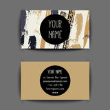 Business card template. Gold grunge Business card template with creative geometric pattern royalty free illustration