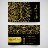 Business card template, golden pattern on black background. Gold business card template, bright golden pattern. Vector illustration for modern design. Beautiful Royalty Free Stock Photos