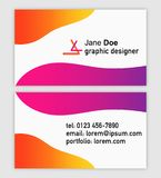Business card template for graphic designer, vector illustration. Front and back view with abstract flowing gradients in vivid colors, 3D logo style, text Stock Photo