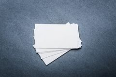 Business card template on grey background. Mock up of business name card royalty free stock photo
