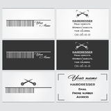 Business card template for a hairdresser. Stock Photo