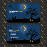 Business card template with halloween design vector illustration