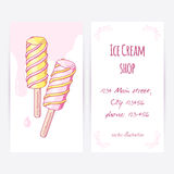Business card template with hand drawn twisted fruity popsicle and drops Royalty Free Stock Photography
