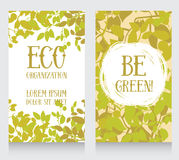 Business card template with leaves decor for ecology organization Stock Image