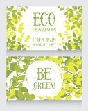 Business card template with leaves decor for ecology organization Stock Photo