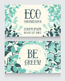 Business card template with leaves decor for ecology organization Stock Images