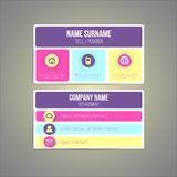 Business card template made in bright funky. Colorful design. Vector Royalty Free Stock Images